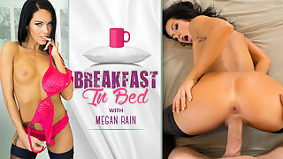 You wake up to pretty Megan Rain riding your cock for breakfast